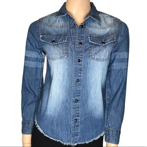 Joe's Small Button Up Long Sleeve Distressed Top